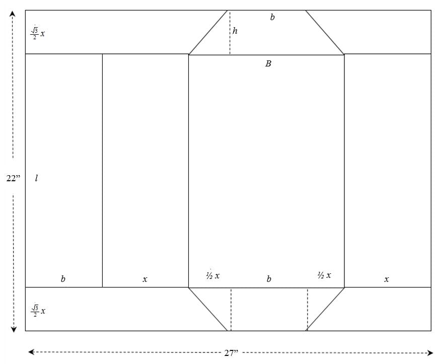 A diagram of the horizontal configuration of the trapezoidal prism.