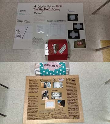 Jumbo chocolate bars and posters summarizing design, calculations, and the construction process.