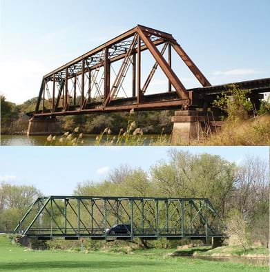 Photos of railroad and road steel truss bridges.