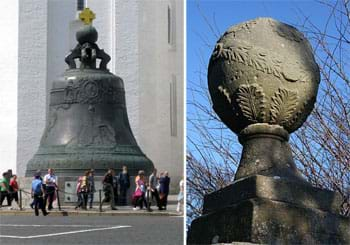 Two photographs: (left) People walk by the bronze Tsar Bell in Moscow, Russia, which is more than 20 feet tall. (right) A large spherical stone finial on the gatepost of a Georgian house in Aberdeenshire, Great Britain.