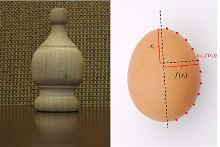 Two photographs: A wooden furniture finial and a chicken's egg. Superimposed over the side-view egg image are a dashed-line of symmetry (through its vertical center), 11 dots around half its right perimeter, and mathematical notations of xi, f(xi) and (xi, f(x1i).