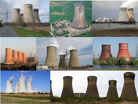 Eight photos show hyperbolic-shaped nuclear power plant cooling towers from around the world. (left to right) Top row: Drax Power Station, England; Westfalen Power Plant, Germany; Doel Power Station, Belgium. Middle row: Chapelcross Power Station, Scotland; Homer City Generating Station, PA, USA; Kharkov Power Station #5, Ukraine. Bottom row: Dukovany Power Station, Czech Republic, and ABLE Thorpe Marsh Power Station, England.