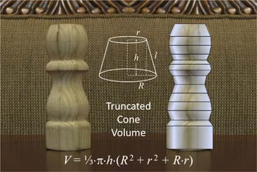 A photograph shows a side view of a wooden finial that looks somewhat like a salt shaker or chess piece. Next to it is a computer-generated image of the same object, now with horizontal lines added at locations where the shape's profile (horizontal widths) changes, resulting in a stack of variously sized truncated cones. The total volume of this solid can be approximated by adding together the volumes of the truncated cones that compose it. Superimposed over the photo is a line drawing of a truncated cone (a cone with its nose/point cut off) with dashed lines indicating its height, length, top radius, r, and bottom radius, R, followed by a volume equation: V = 1/3*pi*h (R^2 + r^2 + Rr).