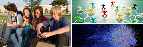 Three images: Photo shows four teens sitting near each other on a curb at school, three using cell phones. Photo shows stick figures each standing inside chalk-drawn circles, further linked by chalk-drawn lines. On a dark background, myriad dots of different colors cluster mostly in one area with many fine blue lines linking to scattered outlying dots—it's a computer-generated graph of protein-protein interactions in human cells.
