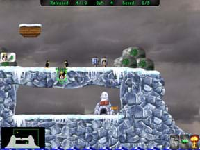 Screenshot shows a level of the Pingus game.