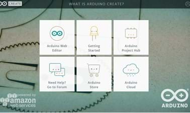 A screenshot of the Webpage for Arduino Create is shown.  It gives the six menu options for the site including: Arduino Web Editor, Arduino Project Hub, Arduino Cloud, Arduino Store and Forum.