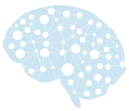 An illustrated outline of a brain with a web of circles connected with lines.