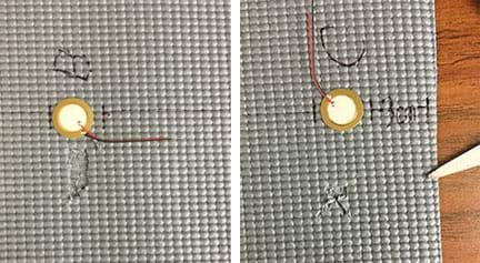 Two photographs show the rubber mat of Figure 1 with notches added: (left) A small amount of rubber was removed with scissors near location B. (right) A smaller, more oblong-shaped notch made with scissors near location C.