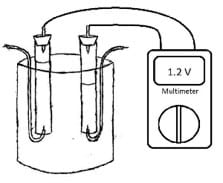 A simple line drawing shows a beaker with two suspended and rubber stopper-capped test tubes, each with a wire from its base and a wire from its top. The wires from the tops connect to a nearby multimeter with a reading of 1.2 volts.