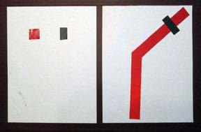A photograph shows two sheets of white copy paper oriented vertically next to each other. In the top half of the left sheet, two one-inch pieces of tape are adhered, one red reflective tape and the other black electrical tape. Adhered to the right sheet are two six-inch lengths of red reflective tape mounted at a 45°angle to each other to make a long path with one angled bend. A one-inch piece of black electrical tape covers a section of the angled red tape (the stop location).