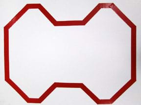 A photograph shows a continuous loop of red reflective tape on a 24 x 36-inch piece of white poster board. The route includes a series of straight sections with periodic left and right turns, none greater than 45°.
