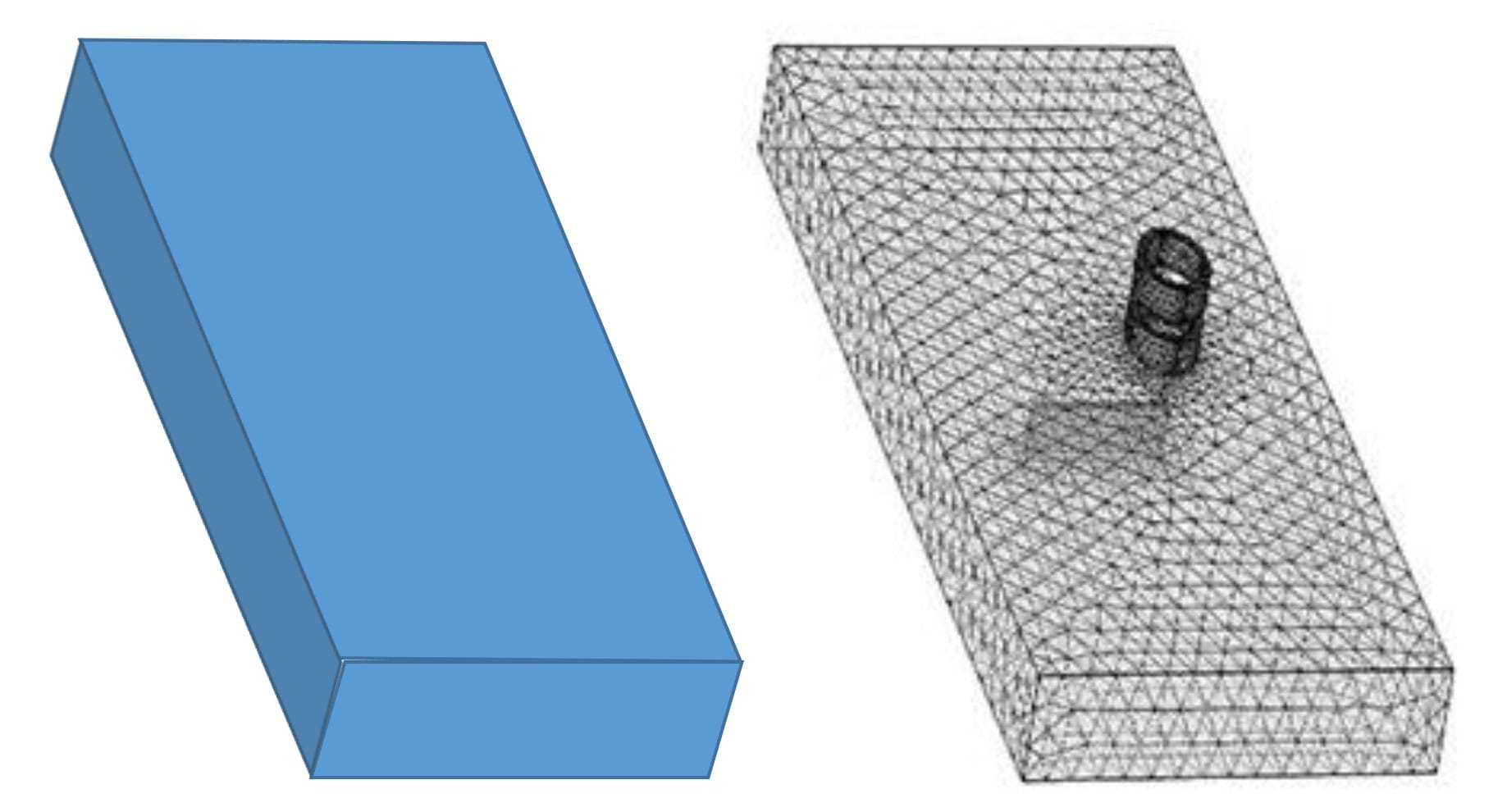 Two similar 3D drawings of rectangular prisms. The left diagram appears solid while the right diagram appears covered by a truss-like pattern of lines, as if it were composed of a 3D mesh.