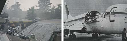 Two photographs. (left) A collapsed concrete highway bridge with big slab sections angled and fallen with scattered cars, some turned over—the August 1, 2007, I-35W bridge collapse in Minneapolis, MN. (right) A black and white image of the damaged fuselage of Aloha Airlines flight 243 aircraft after suffering an explosive decompression while in flight in April 1988. After a small section of the left side of the roof ruptured, the top middle quarter of the Boeing 737-297 fuselage ripped away.