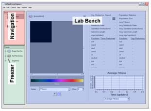 A screenshot shows three boxed areas with different background colors : Lab Bench (analysis; most of screen), Navigation (upper left corner box) and Freezer (lower left corner box)