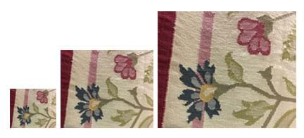 Three photographs of the same portion of a woven multi-color floral rug are scaled to show the first, smallest photograph doubled in size and then tripled in size.