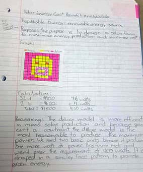 A photograph shows hand writing on a piece of lined notebooks paper. A student has written the project purpose, made a color-coded grid plan for how to place the solar panels, done some cost and watts calculations (deciding on 32 deluxe panels and 2 basic panels) and provided reasoning for the design.