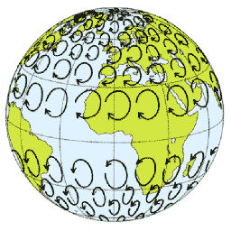 A diagram of the globe with many circular arrows shows global wind patterns moving away from the equator. In the Northern Hemisphere they move clockwise and in the Southern Hemisphere they move counterclockwise—which is called the Coriolis effect. In addition, these cells of moving air create deserts located at 30 degrees north and south of the equator.