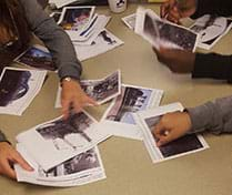 A photograph shows students at a table sorting images in order of the events at Chernobyl using context clues from the images and captions.