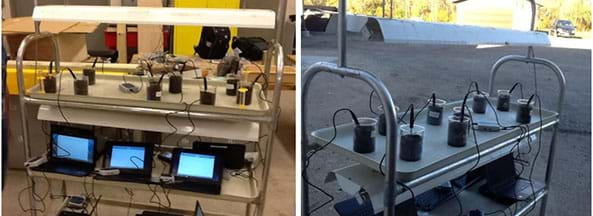 Two photographs show the same rolling metal cart with nine glass beakers of soil on the top shelf, each with a temperature sensor probe poking into the soil, which is connected to devices on a lower shelf that are recording soil temperature data. The left photo shows the cart inside under an illuminated heat lamp; the right photo shows the same cart outside in a shady parking lot.