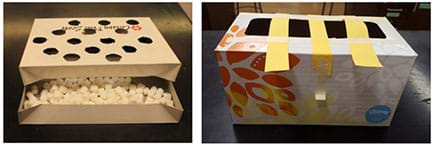 Two photographs. A cardboard gift box filled with mini marshmallows and holes cut out of the lid. An empty cardboard tissue dispenser box with strips of paper taped across the top opening.