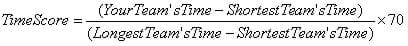 The equation for calculating the time portion of the score with a maximum of 70 points.
