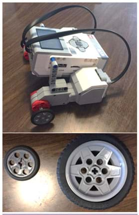 Two photographs: A finished LEGO MINDSTORMS EV3 robot with two larger-sized wheels installed. The two LEGO wheels used in this activity with 8.25 cm and 5.5 cm diameters.