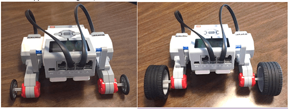 Two photographs of the LEGO robot, one with smaller-sized wheels (left) and the other with the larger-sized wheels (right).