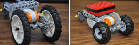 Two photos show three-wheeled table-top LEGO robots, with varying amounts of weight, wheel sizes and gear ratios.