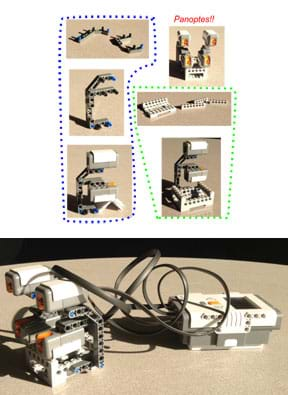 A series of six photographs show how to put LEGO pieces together to assemble the light sensor configuration used in the activity. A larger photograph shows the end result of the Panoptes NXT assembly instructions—the four-sensor assembly connected to the LEGO brick.