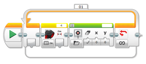 A screen capture image shows a series of LEGO software programming icons.