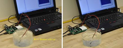 Two similar photos: A temperature probe (connected to the BASIC Stamp 2 microcontroller and a laptop) is placed in a beaker that sits in an ice bath (left) and a hot water bath (right).