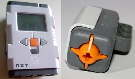 "Two photos of gray and white plastic devices: a hand-size ""intelligent brick"" with buttons and a display screen, and a small rectangular touch tensor with an orange bump-out."