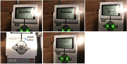 Six photos show the five steps that need to be taken using the orange and grey arrow buttons on the LEGO brick: 1) home screen, 2) view option, 3) select the motor encoder tool in degrees, 4) select servomotor on Port A. 5) angle of servomotor.