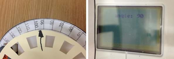 "Two photos. To measure angles, the wheel component is turned so that the arrow points to ~ 84 94 degrees. The LEGO brick display screen reads ""angle: 90."""