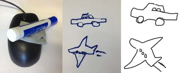 Three photos: A blue dry-erase marker attached to a computer mouse. A drawing of a car and an airplane created by using the marker/mouse. A drawing of a car and an airplane, created using a computer-based drawing program.