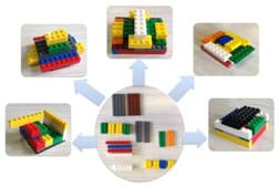 A composite image shows a photograph of a standard set of LEGO pieces given to each student. Arrows from this photo point to five photos, each showing a different way those pieces can be arranged to form model buildings.