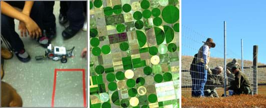Three photos: A group of students inspect a LEGO robot that is traveling the the taped outline (perimeter) of a rectangle on a linoleum floor. A NASA satellite photo shows a grid of farmland in Kansas with irrigated circular and half-circle areas that are greener than most of the square plots. Five adults work together to install a metal and wire fence in a field.