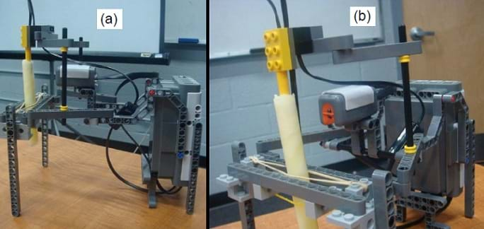 Two photos: Side and front views of a LEGO robot set-up in which a fat sample in a test tube is heated over a Bunsen burner.