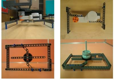 Four photographs show different angles (side, top under and top) of a rectangular structure made from LEGO parts (beams, gear, wheel, axle, servo motor).