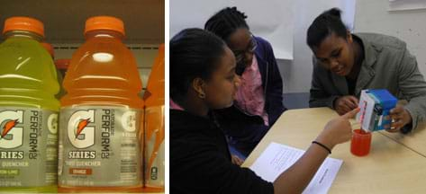 Two photos: Bottles of yellow and orange Gatorade sports drink on a grocery shelf. Three teens at a table watch as one holds a box with LED bulbs over a beaker of reddish liquid.