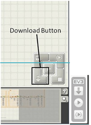 A screenshot of the EV3 software Download button.