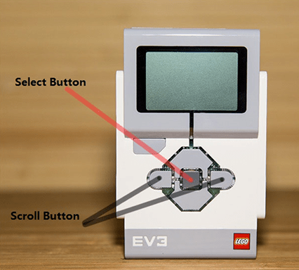Photo shows a EV3 brick with select and scroll buttons identified.
