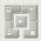 A screen capture image shows a five-segment square icon that looks like a raised button with a lower-left corner down arrow and an inner square with a right-pointing triangle.
