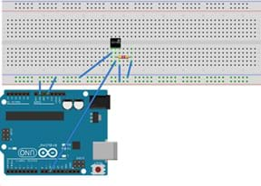 A diagram shows the configuration of the Arduino with a DS18B20 thermal sensor by lines (representing wires) drawn between the microcontroller and a breadboard, showing the sensor and resistor placement.