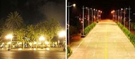 "Two photos show examples of city street lighting. The ""bad orientation"" image shows bright glaring street lights causing alternating areas of high reflection and darkness. The ""good orientation"" image shows an evenly lighted route with light fixtures on poles directed downward (no bright glares)."