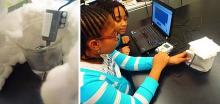 Two photos: A LEGO temperature sensor probe placed in a cup surrounded by a layer of cotton balls. Two students at a table with a laptop, LEGO brick and temperature sensor inside a cup wrapped in cotton balls.