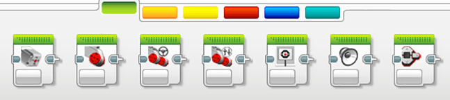 A screen capture shows 12 icons, three indicate color sensor, ultrasonic sensor and motor.