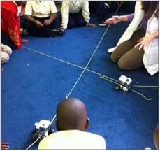 Students and an instructor gather on a blue rug where two robots travel along two yarn lines towards an intersection.
