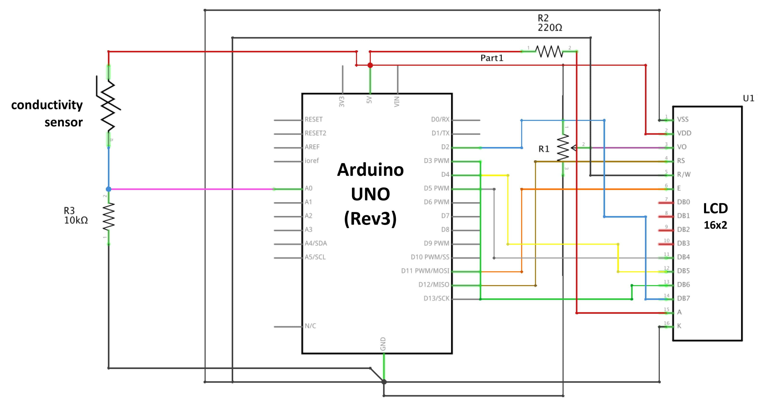 Build And Test A Conductivity Probe With Arduino Activity Circuit Diagram Worksheet High School Shows The Circuitry Needed To Connect An Uno Breadboard That Has