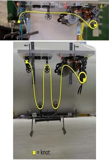 Photos show two configurations of the pulley set-up. Both show 2 NXT motors connected to a reel system, littered with interconnecting gears. Fishing line runs from the reel system through a series of three fixed pulleys (top). The line is then extended down and tethered to a wooden platform. The second configuration (bottom) shows the same set-up with the addition of two movable pulleys, attached to the wood platform.